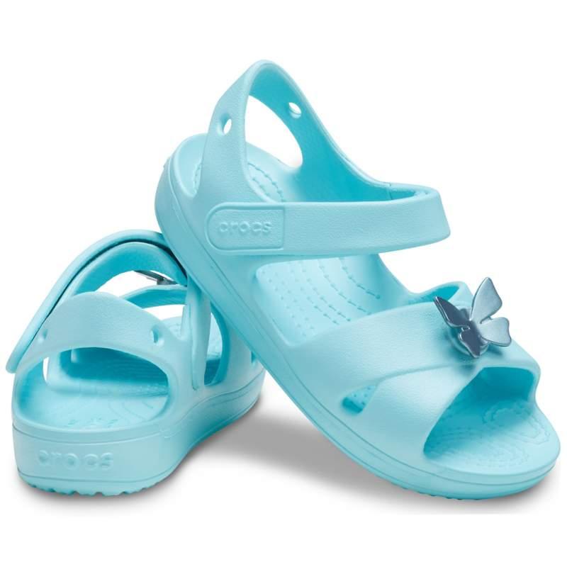 クロックス 公式オンラインショップ【クロックス公式】 クラシック クロス ストラップ サンダル PS Kids' Classic Cross-Strap Sandal ガールズ、キッズ、子供用、女の子 ライトブルー/青 12cm,13cm,14cm,15.5cm,16.5cm,17.5cm sandal サンダル 30%OFF