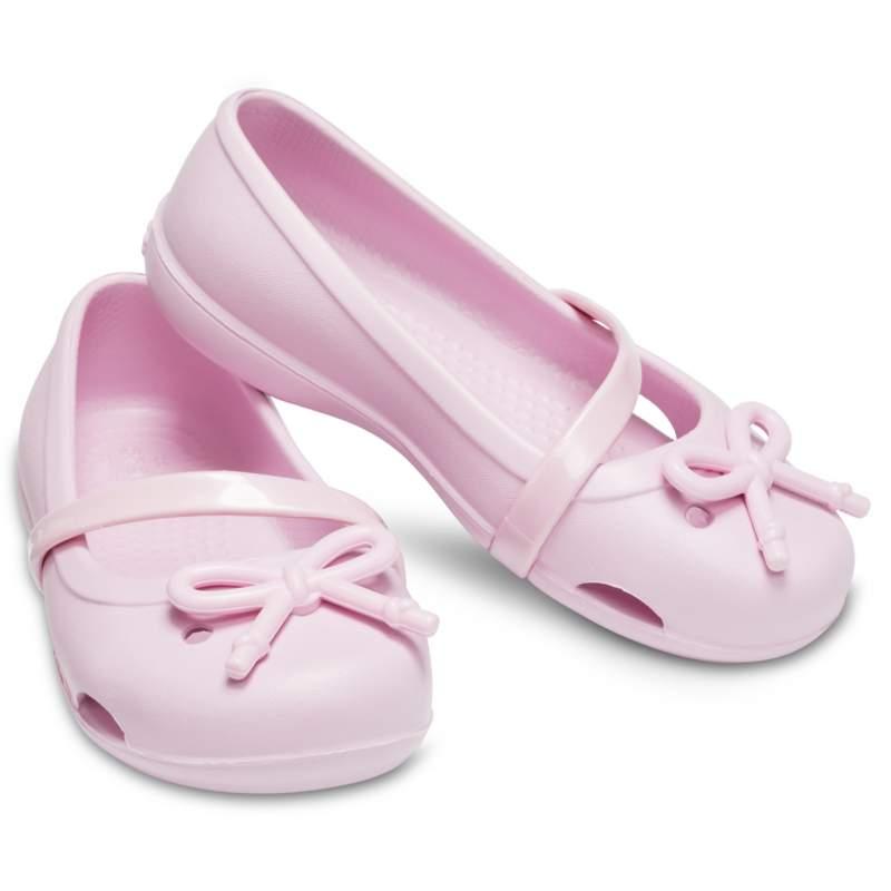 【クロックス公式】 クロックス リナ ボウ チャーム フラット PS Kids' Crocs Lina Bow Charm Flat ガールズ、キッズ、子供用、女の子 ピンク/ピンク 14cm,15cm,15.5cm,16.5cm,17.5cm,18cm,18.5cm,19cm,19.5cm,20cm,21cm flat フラットシューズ バレエシューズ ぺたんこシューズ