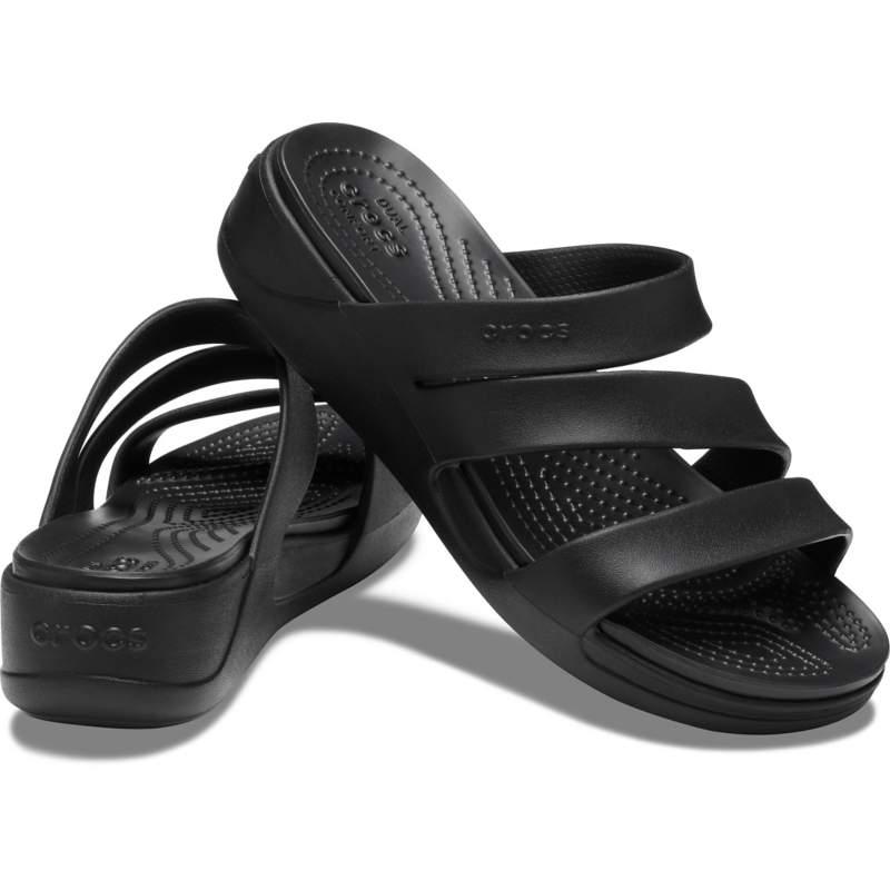 【クロックス公式】 クロックス モントレー ストラッピー ウェッジ ウィメン Women's Crocs Monterey Strappy Wedge ウィメンズ、レディース、女性用 ブラック/黒 21cm,22cm,23cm,24cm,25cm wedge