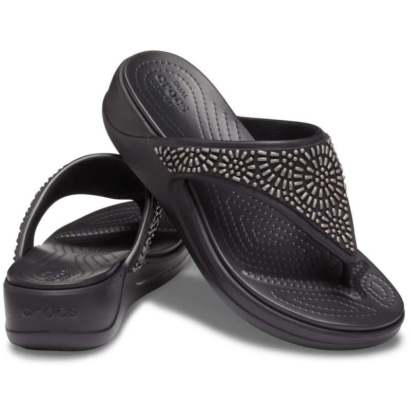 【クロックス公式】 クロックス モントレー ディアマンテ ウェッジ フリップ ウィメン Women's Crocs Monterey Diamante Wedge Flip ウィメンズ、レディース、女性用 ブラック/黒 21cm,22cm,23cm,24cm,25cm wedge