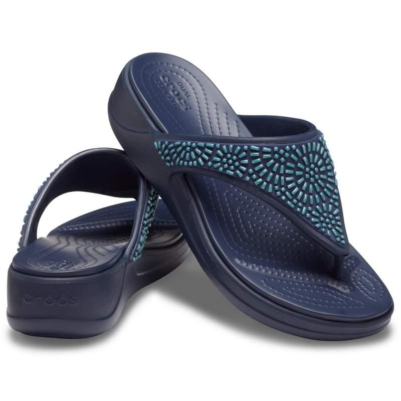 【クロックス公式】 クロックス モントレー ディアマンテ ウェッジ フリップ ウィメン Women's Crocs Monterey Diamante Wedge Flip ウィメンズ、レディース、女性用 ブルー/青 22cm,23cm,24cm wedge