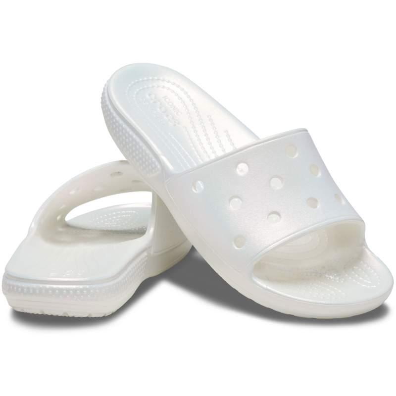 【クロックス公式】 クラシック クロックス イリディセント スライド Classic Crocs Iridescent Slide ユニセックス、メンズ、レディース、男女兼用 ホワイト/白 22cm,27cm,28cm slide スライドサンダル スポーツサンダル シャワーサンダル サンダル 20%OFF