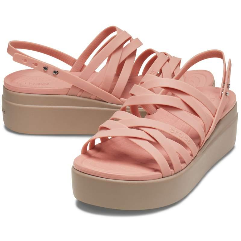 [クロックス公式] サンダル クロックス ブルックリン ストラッピー ローウェッジ ウィメン レディース、ウィメンズ、女性用 ピンク 25cm Women's Crocs Brooklyn Strappy Low Wedge