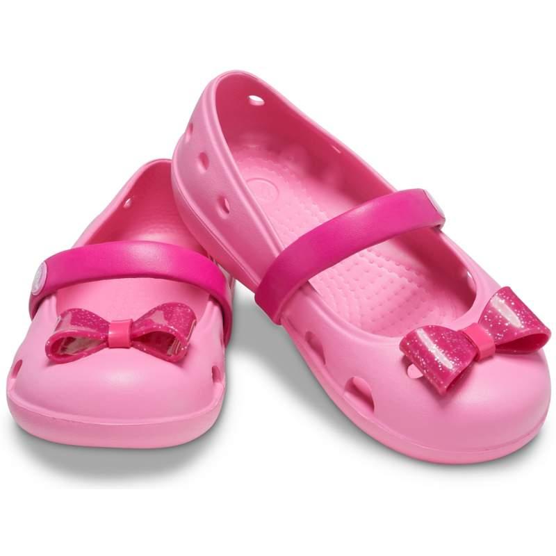 【クロックス公式】 クロックス キーリー エンベリッシュド フラット キッズ Kids' Crocs Keeley Embellished Flat ガールズ、キッズ、子供用、女の子 ピンク/ピンク 14cm,15cm,15.5cm,16.5cm,17.5cm,18cm,18.5cm,19cm flat フラットシューズ バレエシューズ ぺたんこシューズ