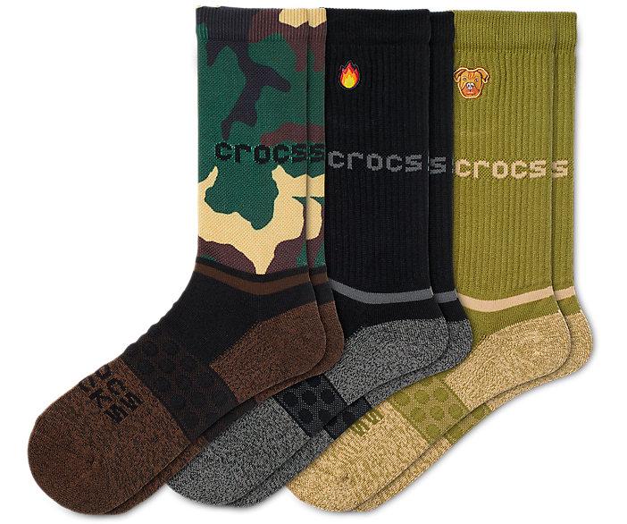 Crocs Socks Adult Crew Graphic 3-Pack