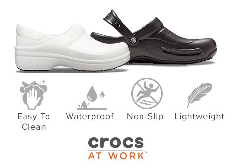 Easy to clean, Waterproof, Non-slip, Lightweight; Crocs At Work.