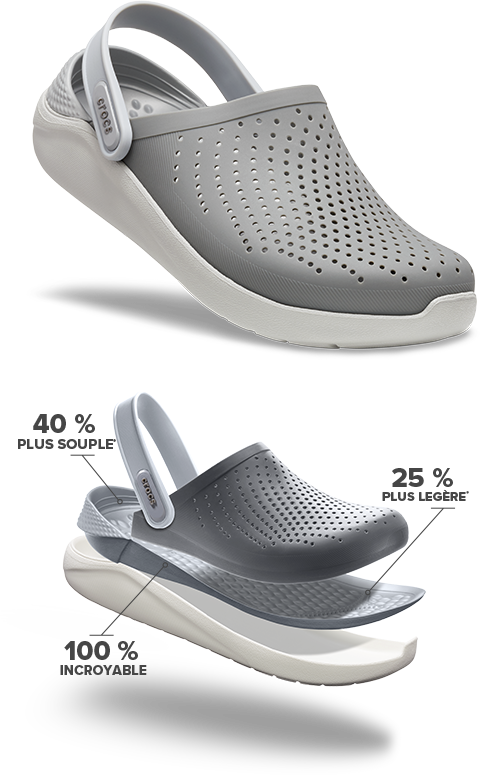 LiteRide™ Clog in Smoke/Pearl White. 40% softer, 25% lighter, 100% amazing.
