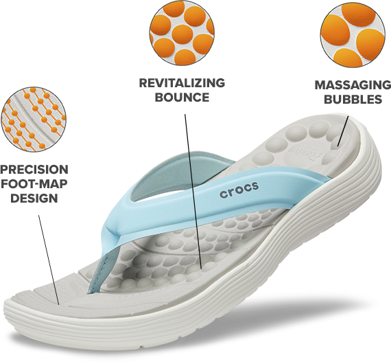 Precision foot-map design; Revitalizing bounce; Massaging bubbles