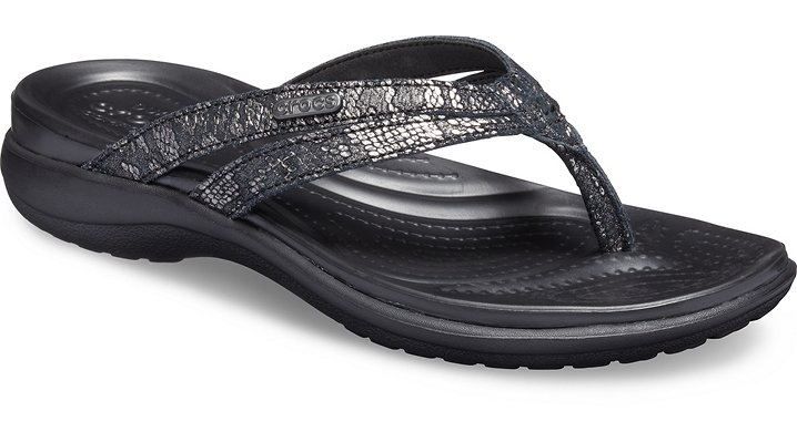 Crocs Capri Strappy TeenSlippers Damen Black-Black 34