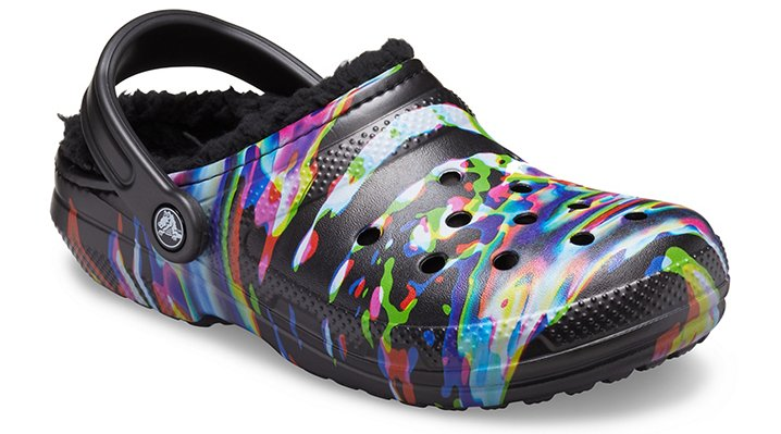 Black / Multi Crocs Classic Lined Out of This World Clog.  Available in size W9/M7