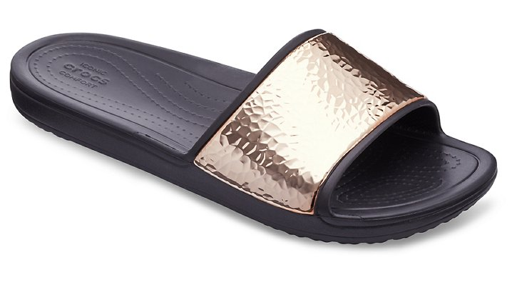 Women's Crocs Sloane Hammered Metallic Slides | Tuggl