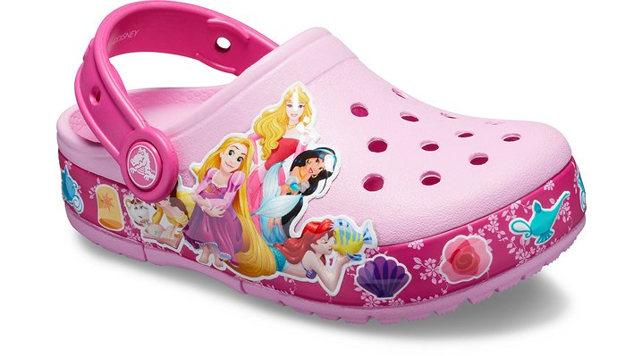 Real Fun Shoes For Real Fun KidsWho's her favorite Disney Princess? There's no need to choose with these clogs that showcase some of the most popular Princesses of all time and light up with every step! Disney favorites Ariel, Aurora, Jasmine, Rapunzel and Belle are all here to save the day.  Kids' Crocs Fun Lab Disney Multi-Princess Band Lights Clog Details:    Pivoting heel straps that let them choose between clog and slide styles  Uppers featuring exciting new graphics and lights where kids can interact with them  Customizable with Jibbitz™ charms  Croslite™ foam outsoles for better traction, support and comfort  Long-lasting LED lights; batteries are not replaceable  Iconic Crocs Comfort™: Lightweight. Flexible. 360-degree comfort.    © Disney