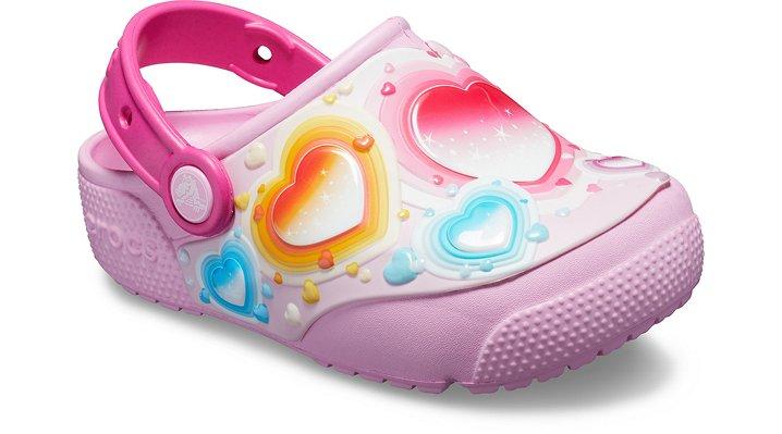 Crocs Fun Lab Hearts Lights Klompen Kinder Carnation 22