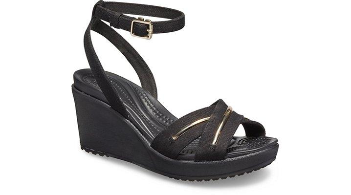 5ec908dcea3b Women s Leigh II Metal-Block Cross-Strap Ankle Wedge - Crocs