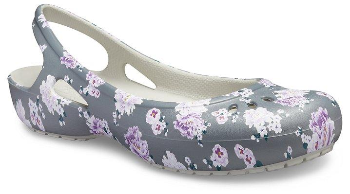 Crocs Kadee Printed Slingback Ballerinas Damen Floral-Pearl White 36