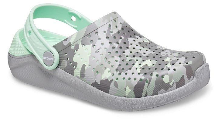 Crocs LiteRide™ Printed Camo Klompen Kinder Light Grey-Neo Mint 28