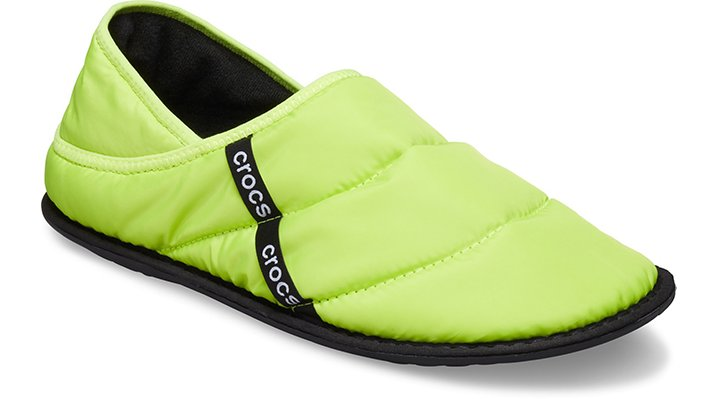 Cozy Chromatic ComfortThe spotlight is on for the Crocs Neo Puff Statement Collection. This glowing set of ultracomfortable styles will satisfy your need for subtle or spectacular rainbow expression when the going gets cold — and this slipper embodies warmth and style for all of the chilly months.  Neo Puff Slipper Details:    Convertible fold-down heels  Nylon puff uppers  Soft and warm footbed  Polyurethane outsole for additional traction