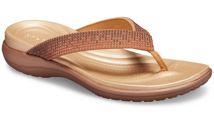 Crocs Capri V Diamante TeenSlippers Damen Melon Ombre-Bronze 34