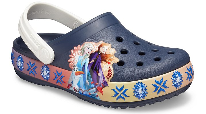 Real Fun Shoes For Real Fun KidsShine a frosty light and brighten your little Frozen fan's days (and nights!) with these new Frozen 2 clogs that light up with every step! Crocs Fun Lab styles feature original character-rich graphics, licensed characters from popular entertainments and other inspired designs to help kids express themselves and engage new friends.  Kids' Crocs Fun Lab Lights Disney Frozen 2 Band Clog Details:    Pivoting heel straps that let them choose between clog and slide styles  Uppers featuring exciting new graphics and lights where kids can interact with them  Croslite™ foam outsoles for better traction, support and comfort  Long-lasting LED lights; batteries are not replaceable  Customizable with Jibbitz™ charms  Iconic Crocs Comfort™: Lightweight. Flexible. 360-degree comfort.    © Disney