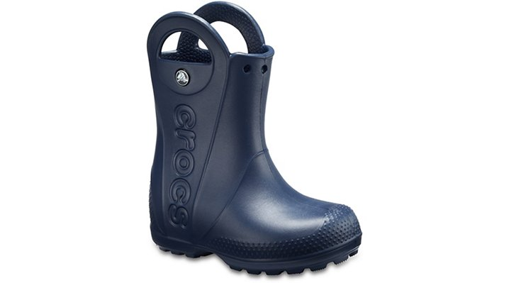 Now kids can enjoy classic Crocs comfort � even on the rainiest days. Our kids� rain boot is available in bright colors with a waterproof build that keeps puddle-jumping feet cozy and dry.    Kids� Handle It Rain Boot Details:    Waterproof rain boot.  Fully molded Croslite trade  material for lightweight cushioning and comfort.  Reflective heel logo.