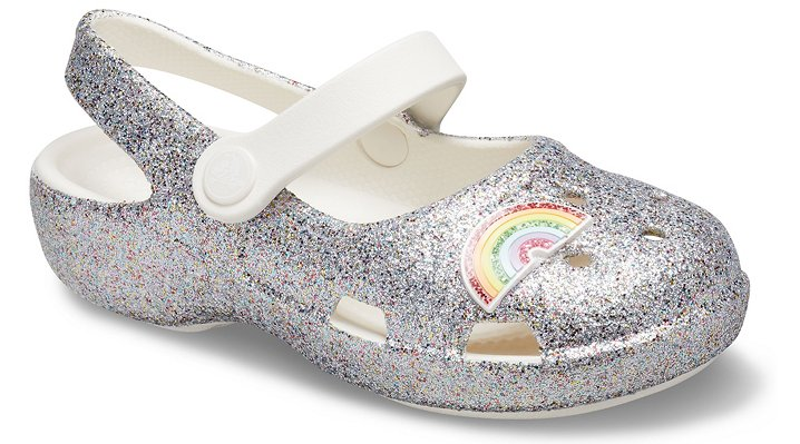 Original. Whimsical. Comfortable.  What's in a name? When it comes to the new Classic Mary Jane, it's the perfect combination of timeless Mary Jane styling, classic Crocs comfort and kid-friendly functionality. This style includes a fixed charm and new allover glitter treatment on the uppers. A pivoting instep strap provides her with a secure fit and makes on and off a breeze. The Croslite™ foam construction delivers all of the lightweight comfort she loves and the easy-to-wash design that parents appreciate.  Kids\\\' Classic Glitter Charm Mary Jane Details:    Allover glitter with fixed charms  A prettier, more playful take on the Classic Clog  Vented uppers to help drain water and debris  Pivoting instep straps give her a secure, comfortable fit  Customizable with Jibbitz™ charms  Iconic Crocs Comfort™: Lightweight. Flexible. 360-degree comfort.