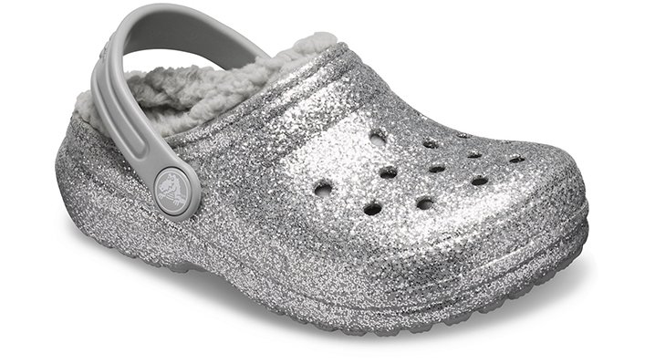 Crocs Classic Glitter Lined Klompen Kinder Silver-Silver 22