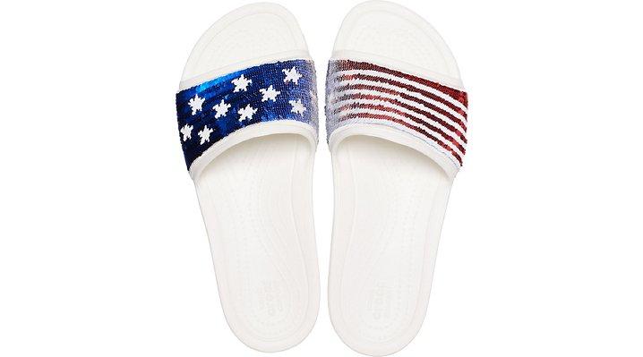 outlet Sale Women's Crocs Sloane American Flag Reverse Sequin Slide
